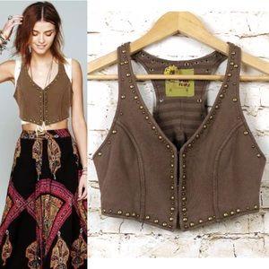 Free People Brown Studded Cropped Knit Vest Boho